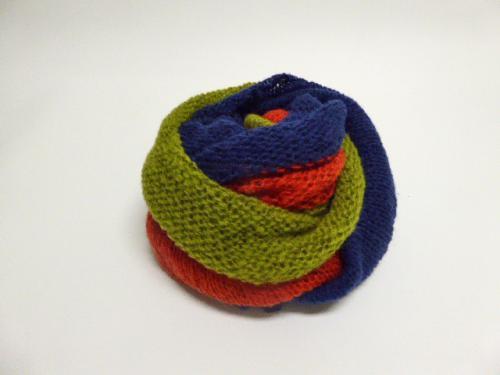 3colors knit snood オレンジ×ネイビー×カーキ