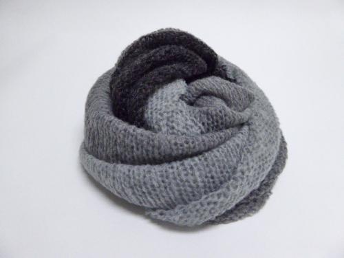 3colors knit snood グレー×ディープグレー×ブラック