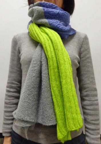 3colors knit stole ライトグリーン×ライトブルー×グレー