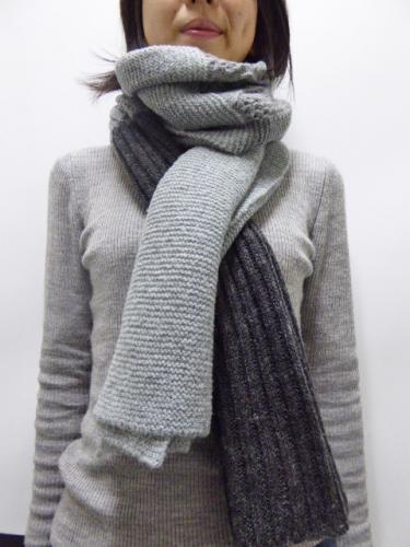 3colors knit stole グレー×ブラック×ディープグレー