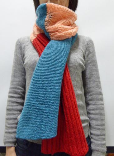 3colors knit stole レッド×ピンク×ブルー