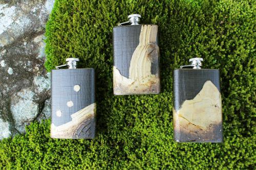 ウイスキースキットル【大】麻布貼りさび絵【波】【岩】【滝】