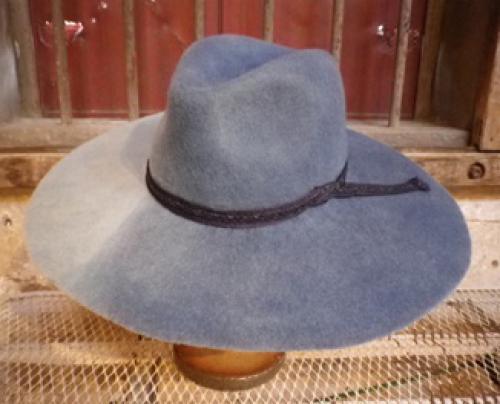 藍染めグラデーション ウール広ツバ中折れ帽