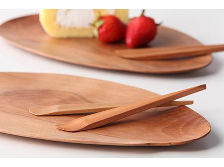 りんごの木のカトラリー(食器類、箸、皿、ヘラ、おしぼりおきなど)
