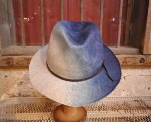 藍染め+柿渋染めグラデーションハイバック中折れ帽