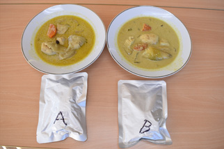 ホワイトスープカレー試作(温麺と一緒に提供実績があるカレーのレトルト化)